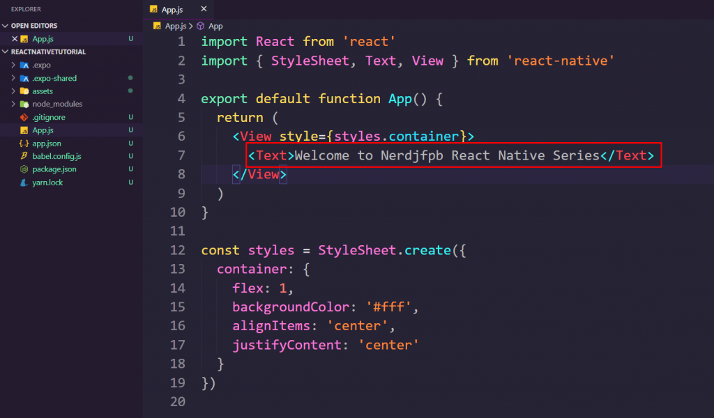 Changing-in-react-native-text